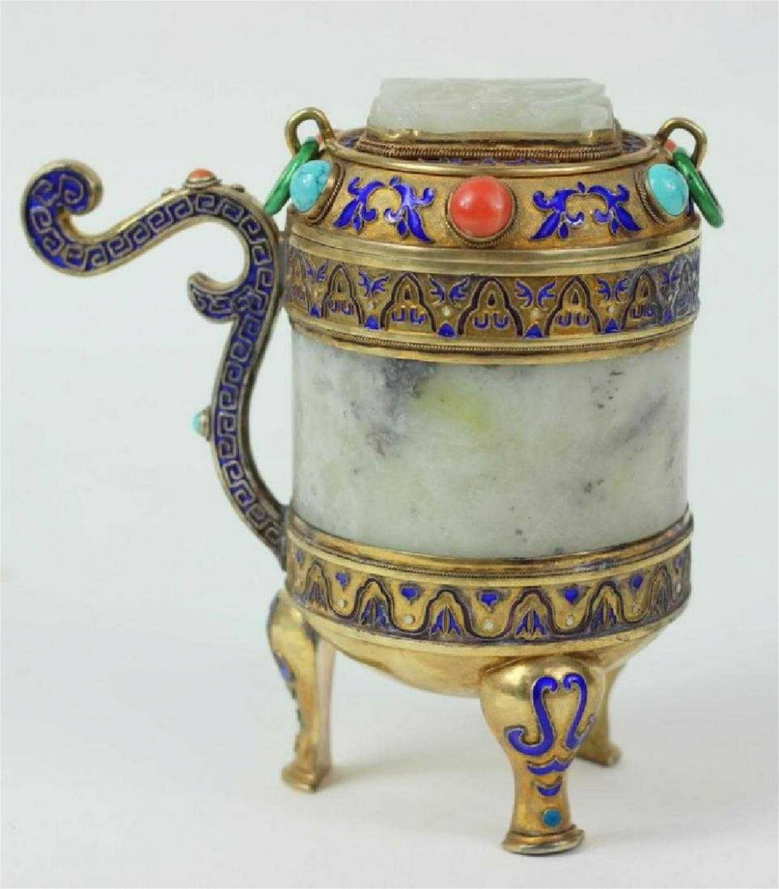 Antique Chinese Enameled Silver and White Jade Tea
