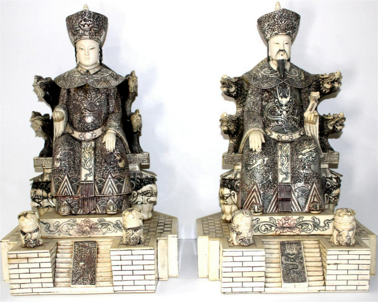 Monumental Pair of Chinese Carved Bone Emperor and