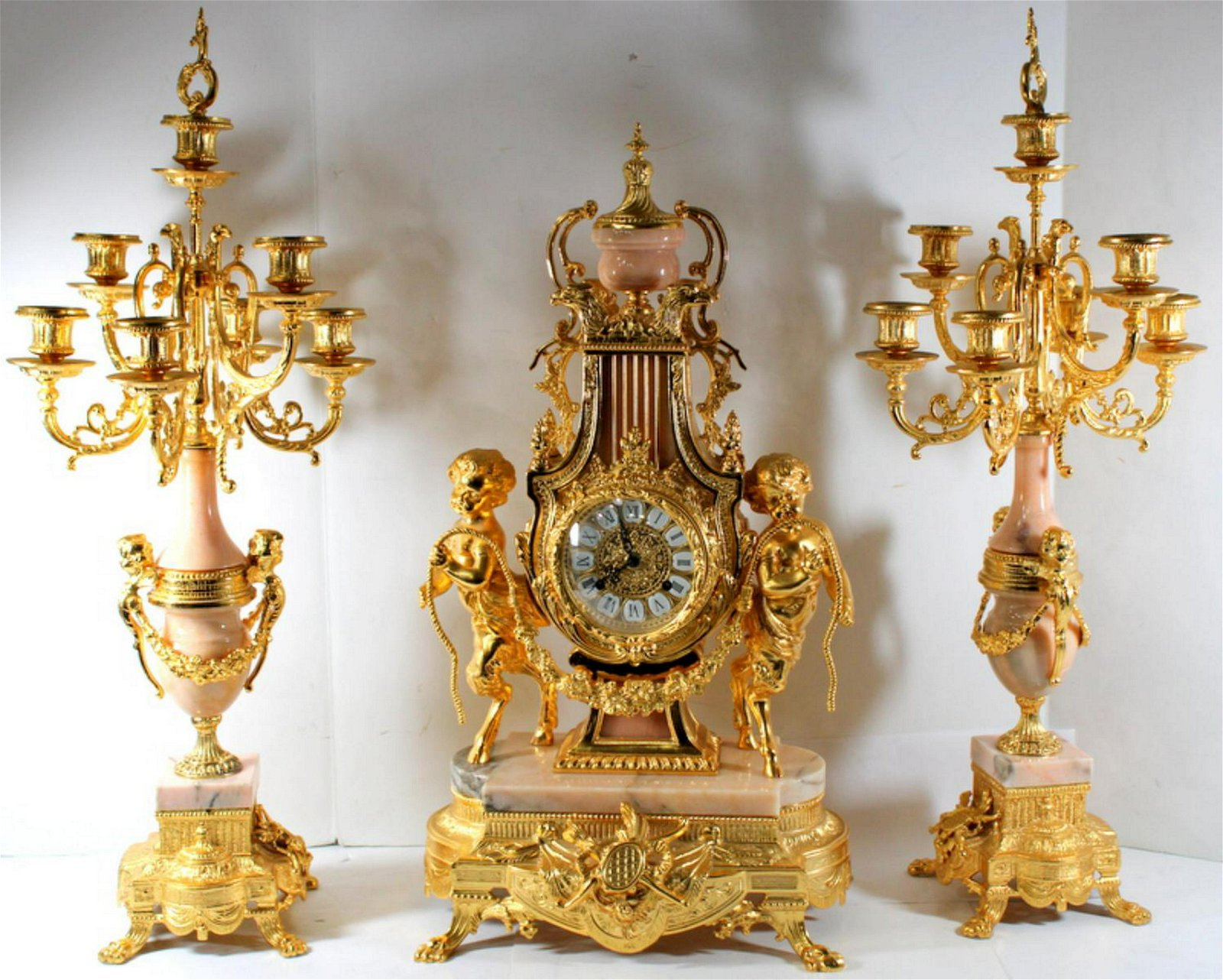Louis XV Style Dore Bronze + Marble Clock Set