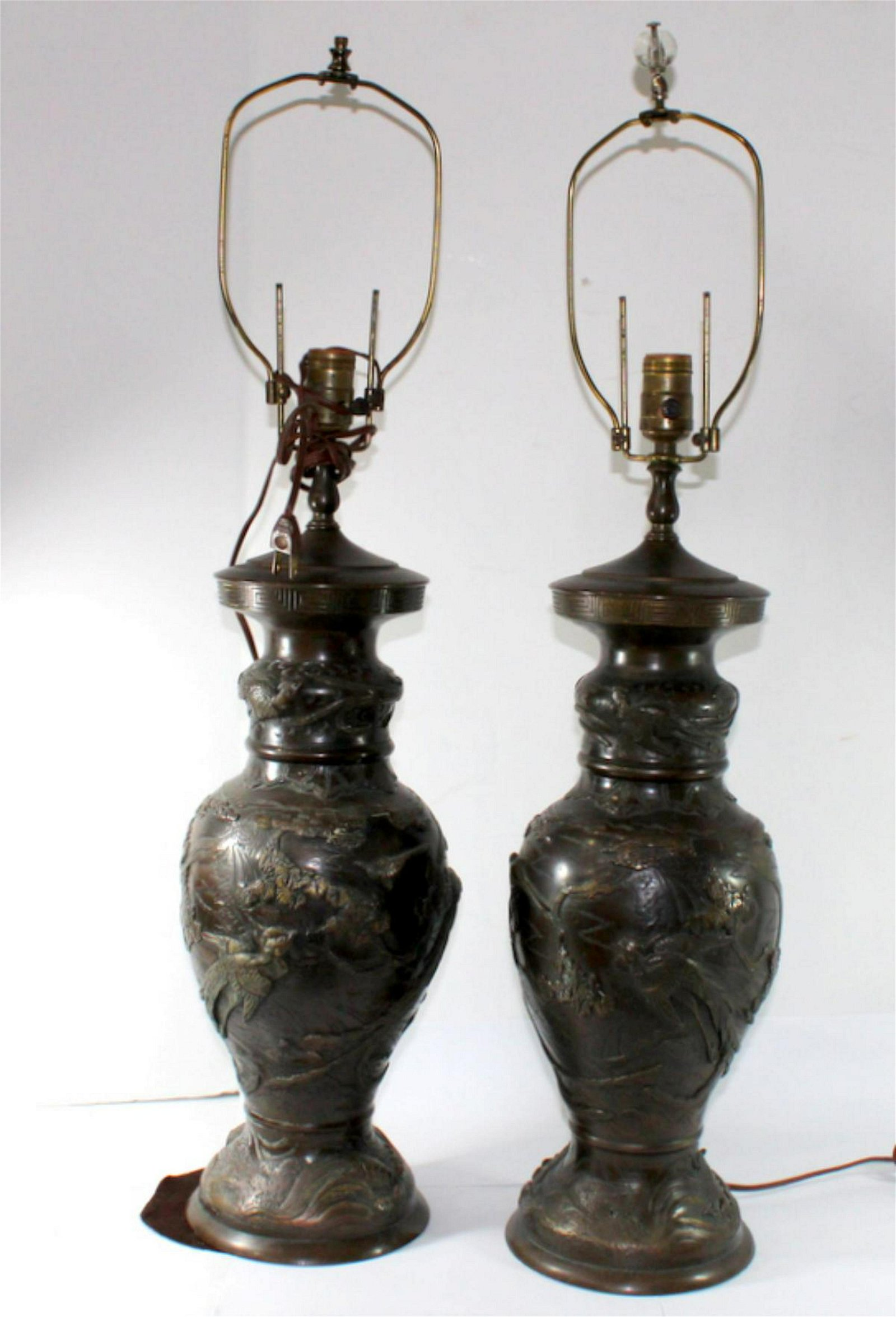 Pair of Japanese Bronze Table Lamp