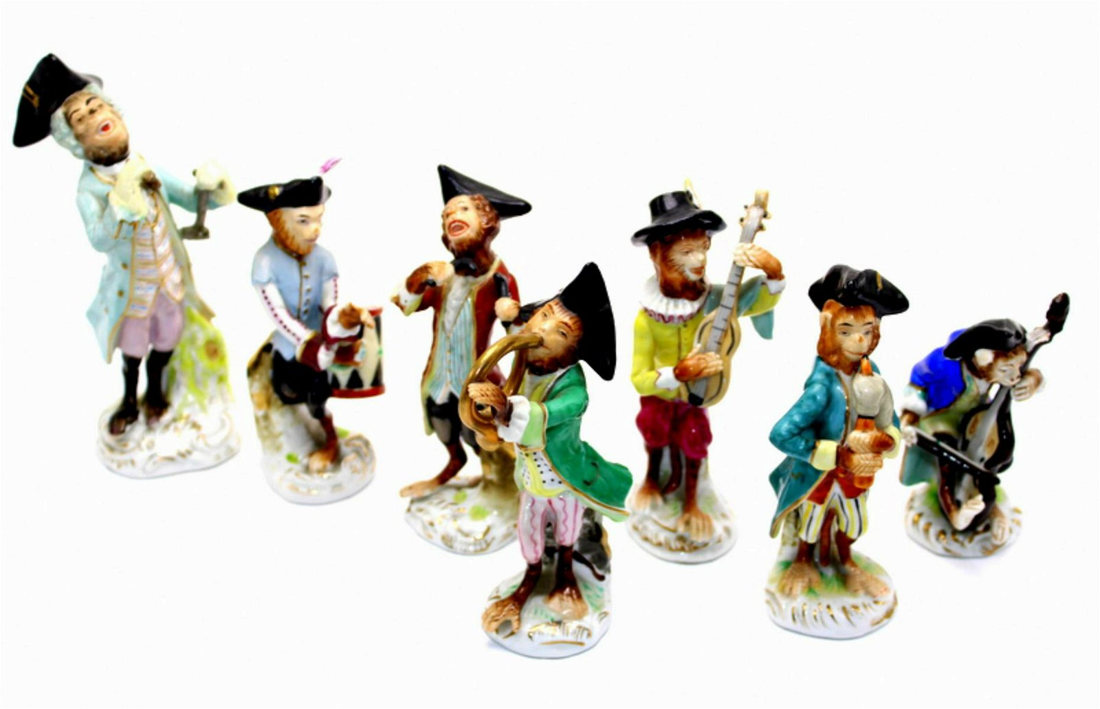 Lot of 7 Germany Porcelain Monkey Band Figurines