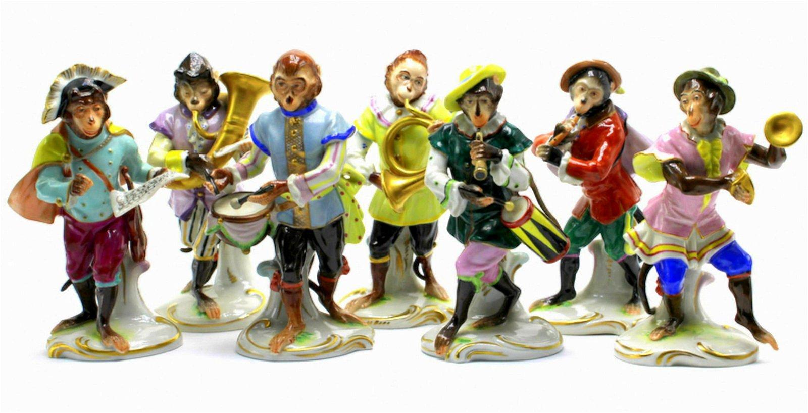 Lot of 7 Germany Porcelain Monkey Band Figurines