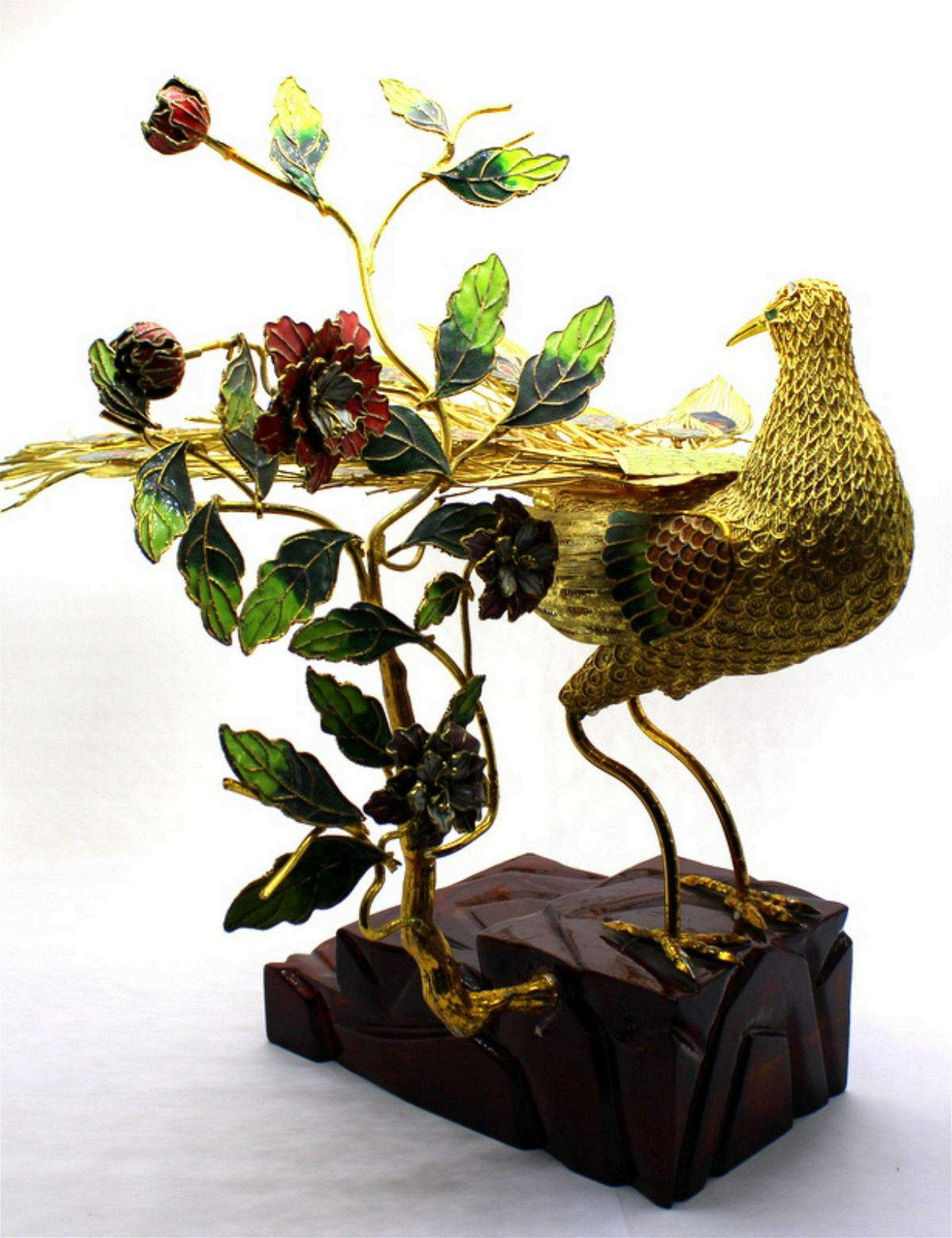 Antique Chinese Enamel + Bronze Bird on Wood Stand