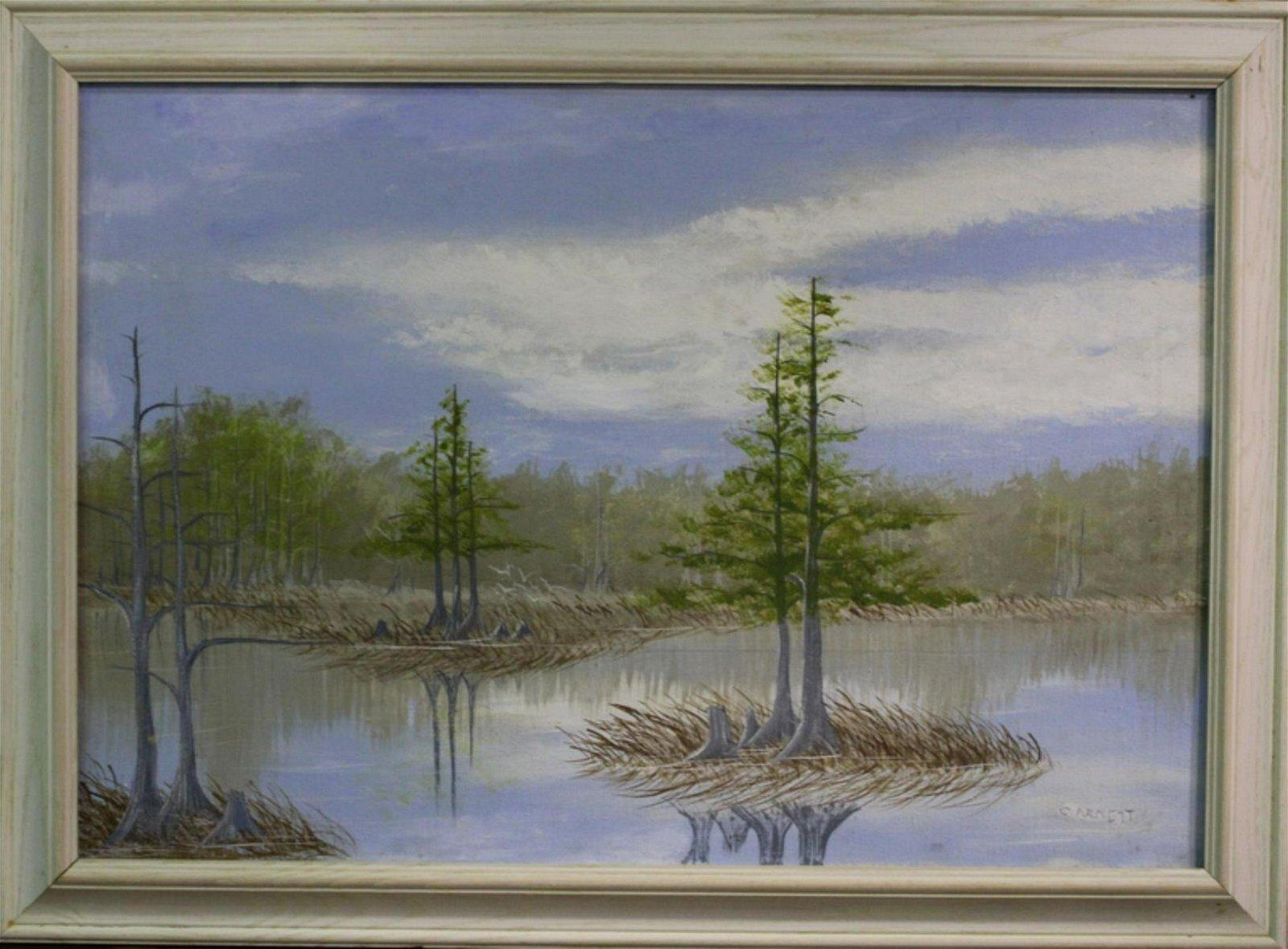 Signed Curtis Arnett Florida Highwaymen Oil Painting