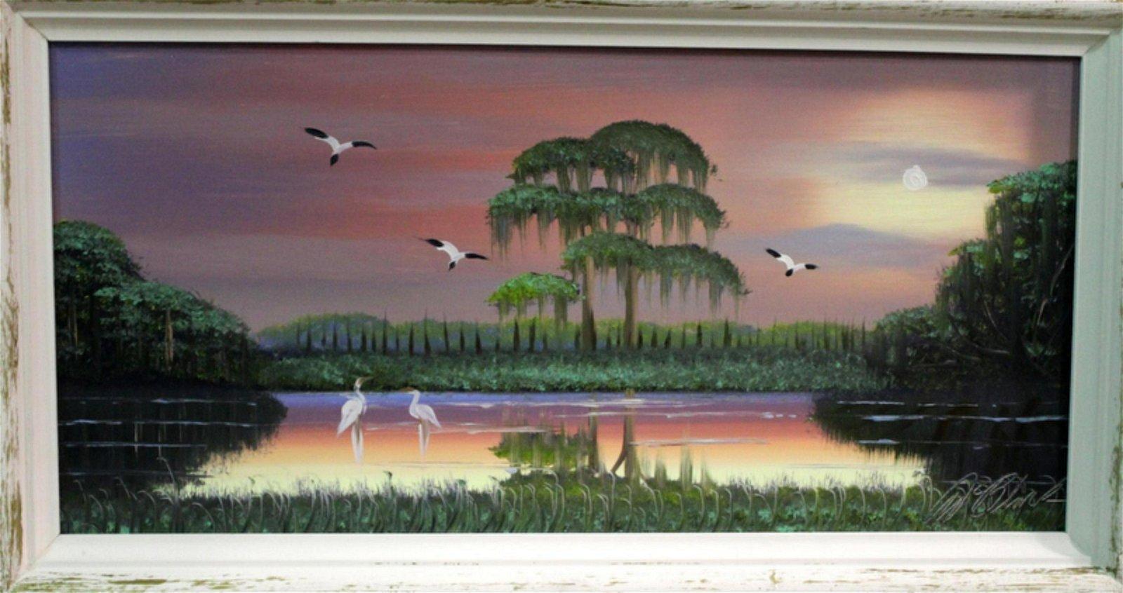 Signed Al Black Florida Highwaymen Oil Painting