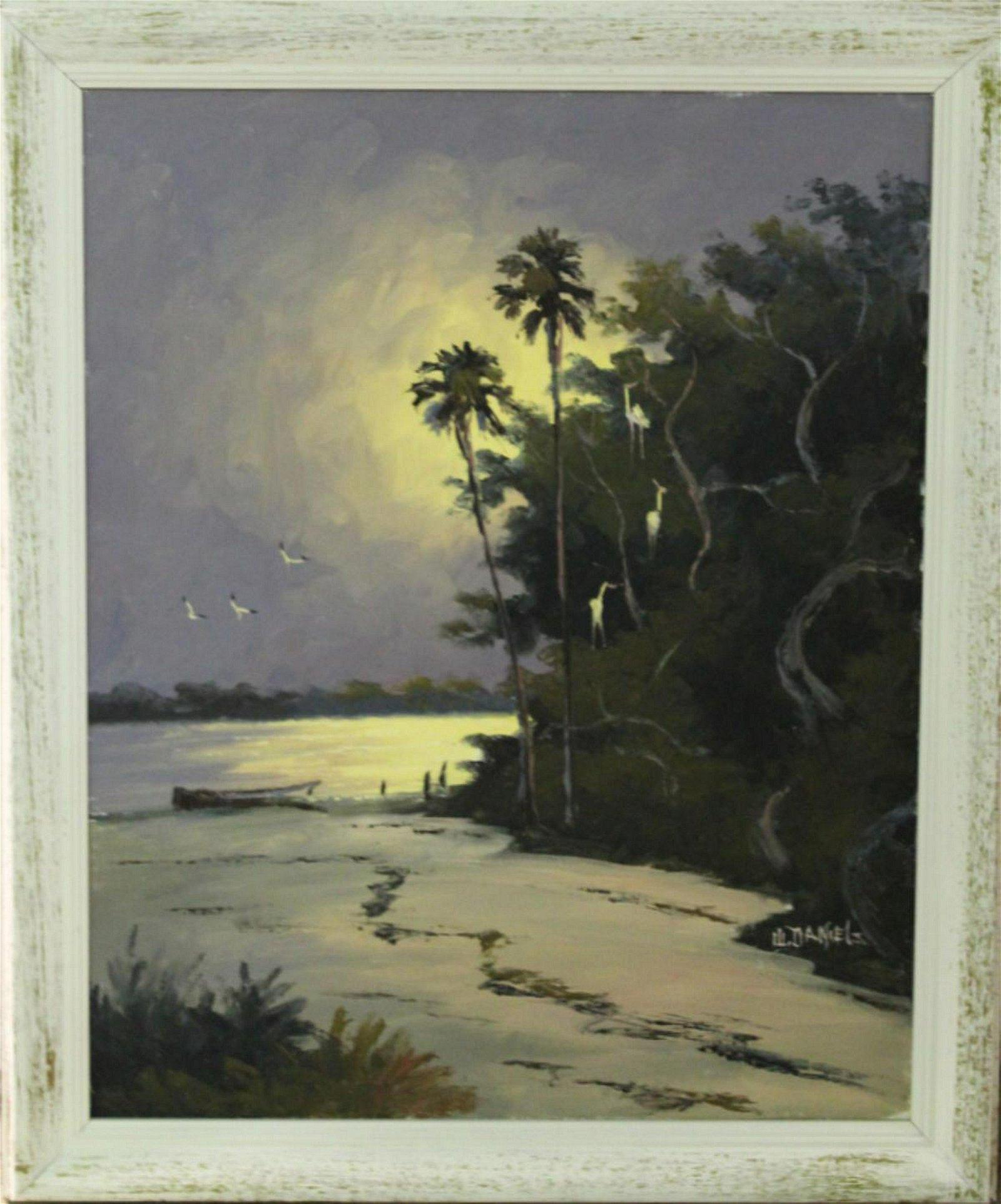 Signed Willie Daniels Florida Highwaymen Oil Painting
