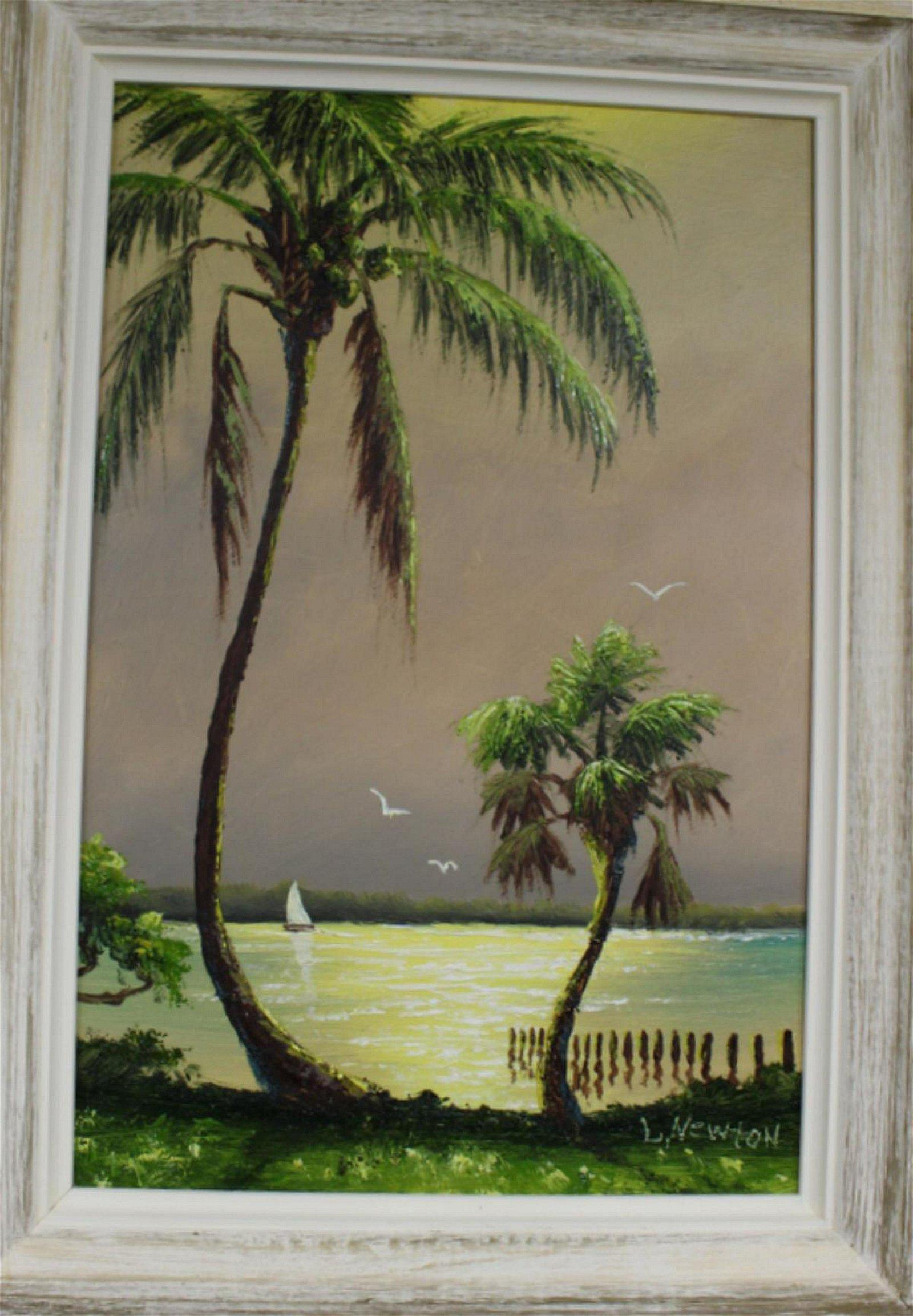 Signed Lemuel Newton Florida Highwaymen Oil Painting