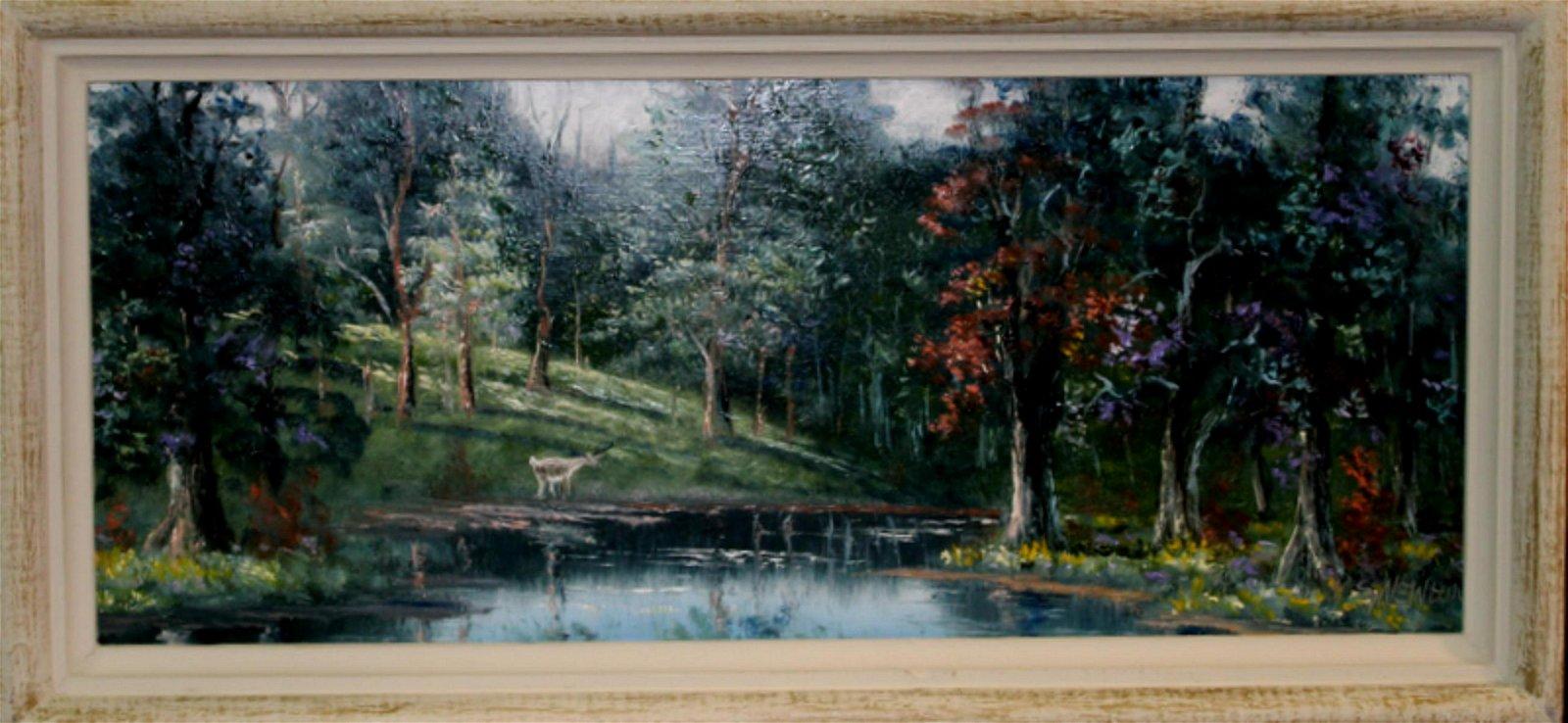 Signed Sam Newton Florida Highwaymen Oil Painting