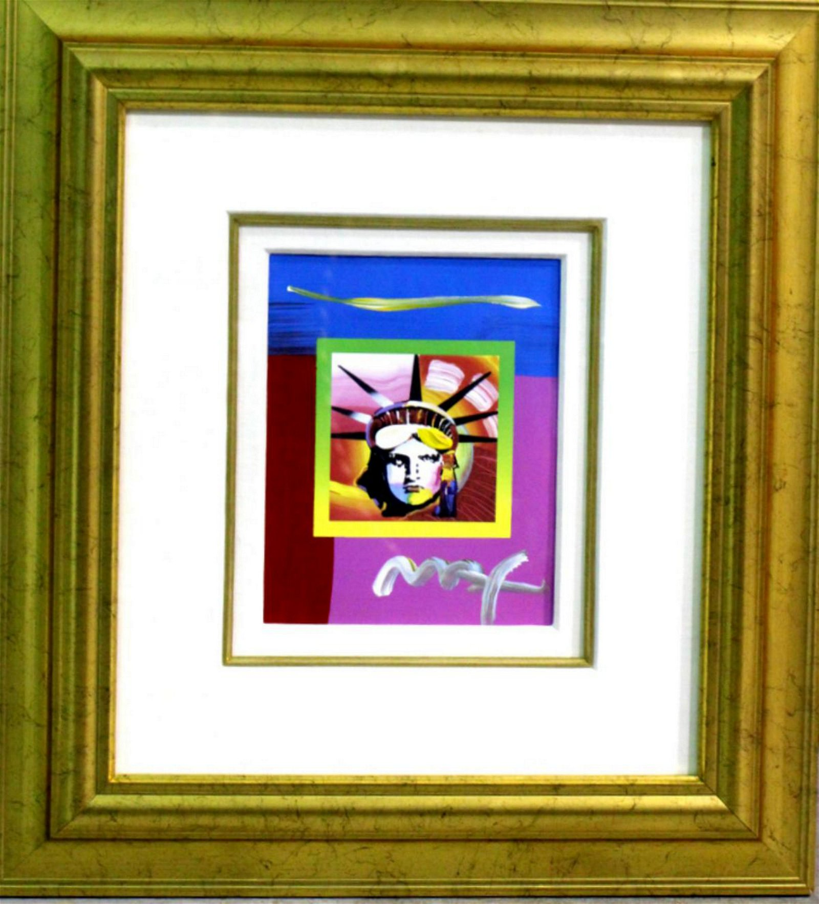 Signed Peter Max Liberty Head Painting