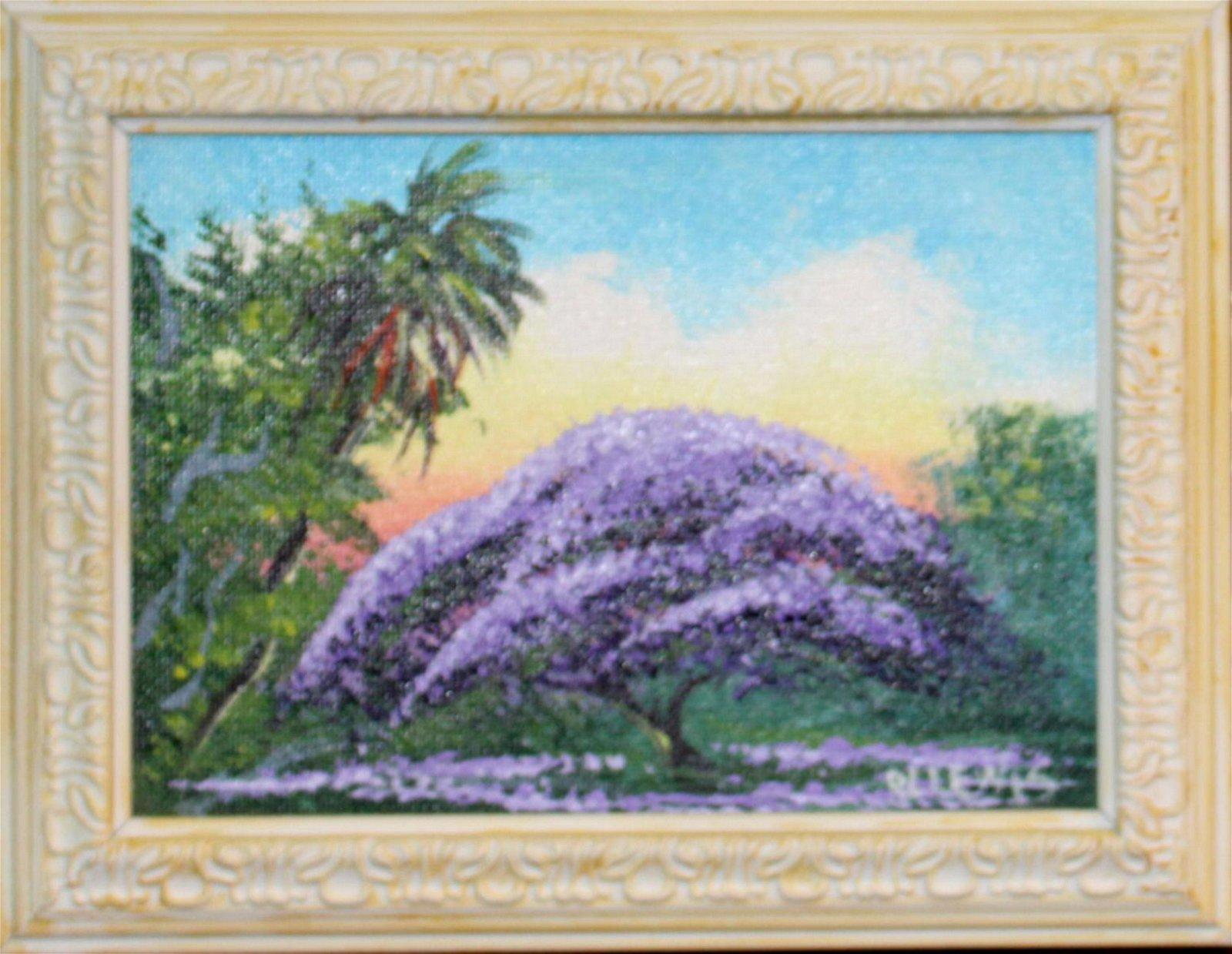 Signed Robert Lewis Florida Highwaymen Oil Painting