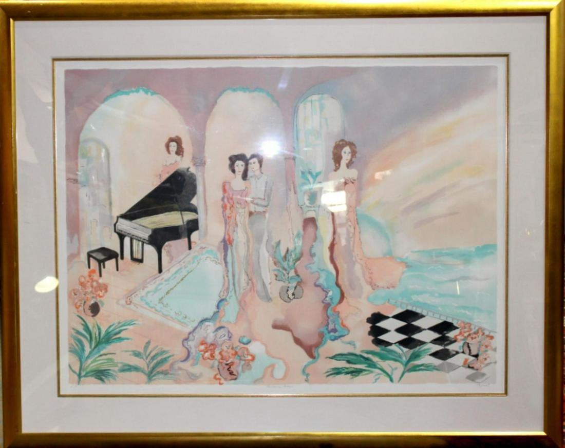 Signed Jane Bazinet Piano Parlor Lithograph