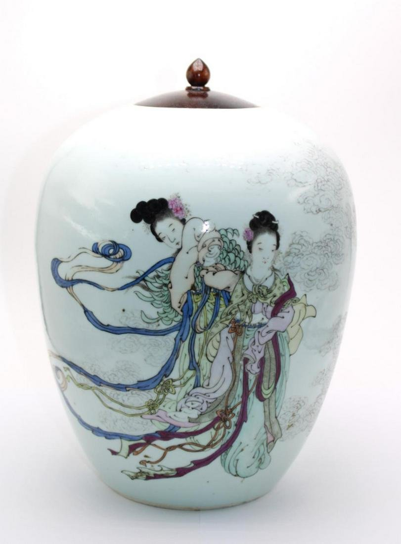 Chinese Hand Painted Porcelain Covered Vase