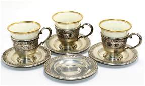 7 Pcs Sterling Silver and Lenox Cup and Saucers