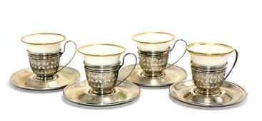 Six Gorham Sterling Silver and Lenox Cup and Saucers
