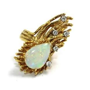 Estate 1970's 18kt YG, Opal and Diamond Freeform Ring
