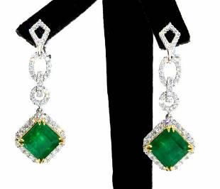 18kt Emerald Diamond Earrings
