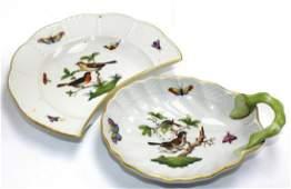 Two Pcs Herend Rothschild Bird Porcelain Set