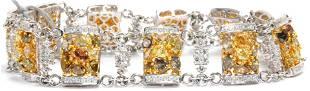 18kt WG Colored Diamond and White Diamond Bracelet