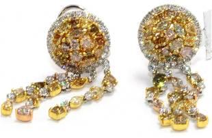 18kt WG Colored Diamond and White Diamond Earrings