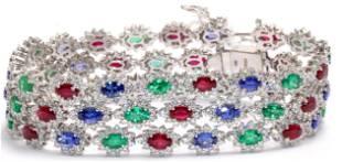 18kt WG Colored Stones and Diamond Bracelet