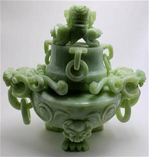 Chinese Carved Jade Censer with Cover
