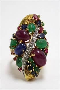 18kt YG Ruby and Emerald Diamond Ring