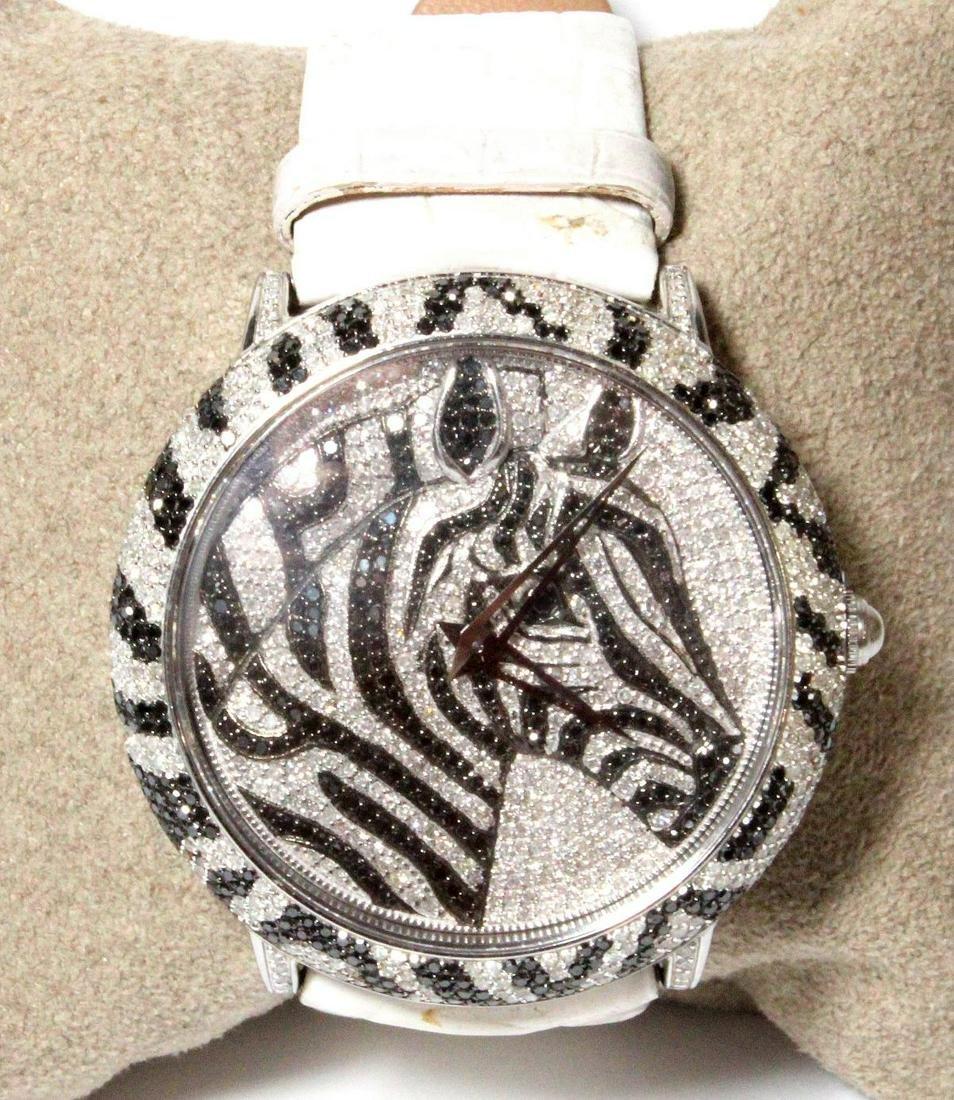 Levian Limited Edition Womens Diamond Zebra Watch