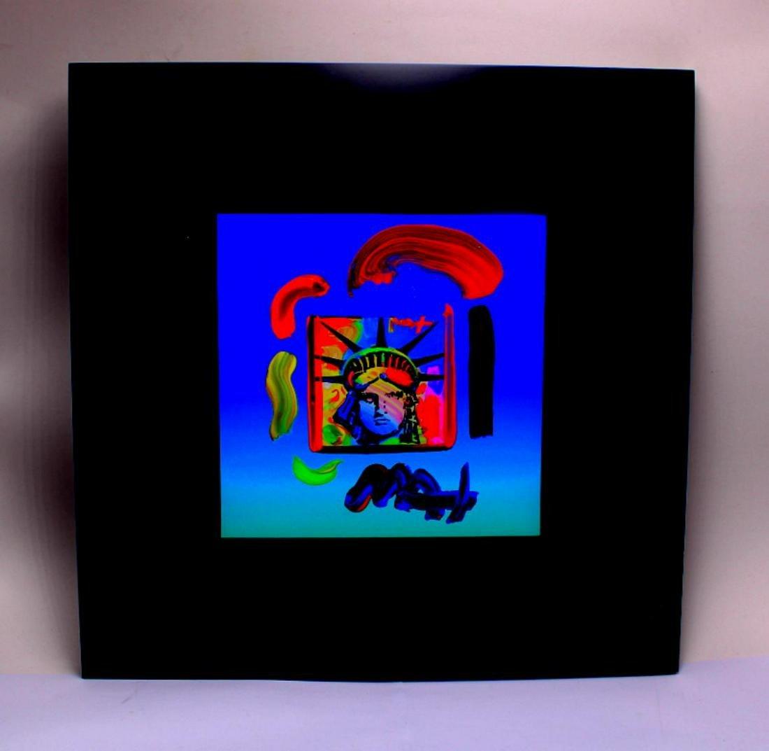 Signed Peter Max Liberty Head Original Mixed Media on