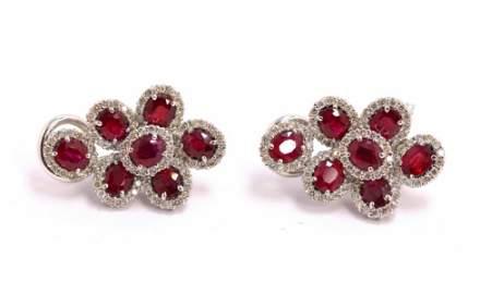 18kt WG, Ruby and Diamond Earrings