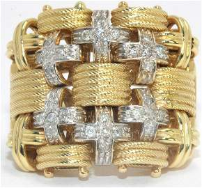 Estate 14kt YG and Diamond Weave Ring