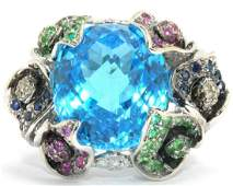 Estate 18kt WG and Multi Color Gemstone Flower Ring