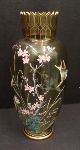 703: MOSER HAND DECORATED VASE