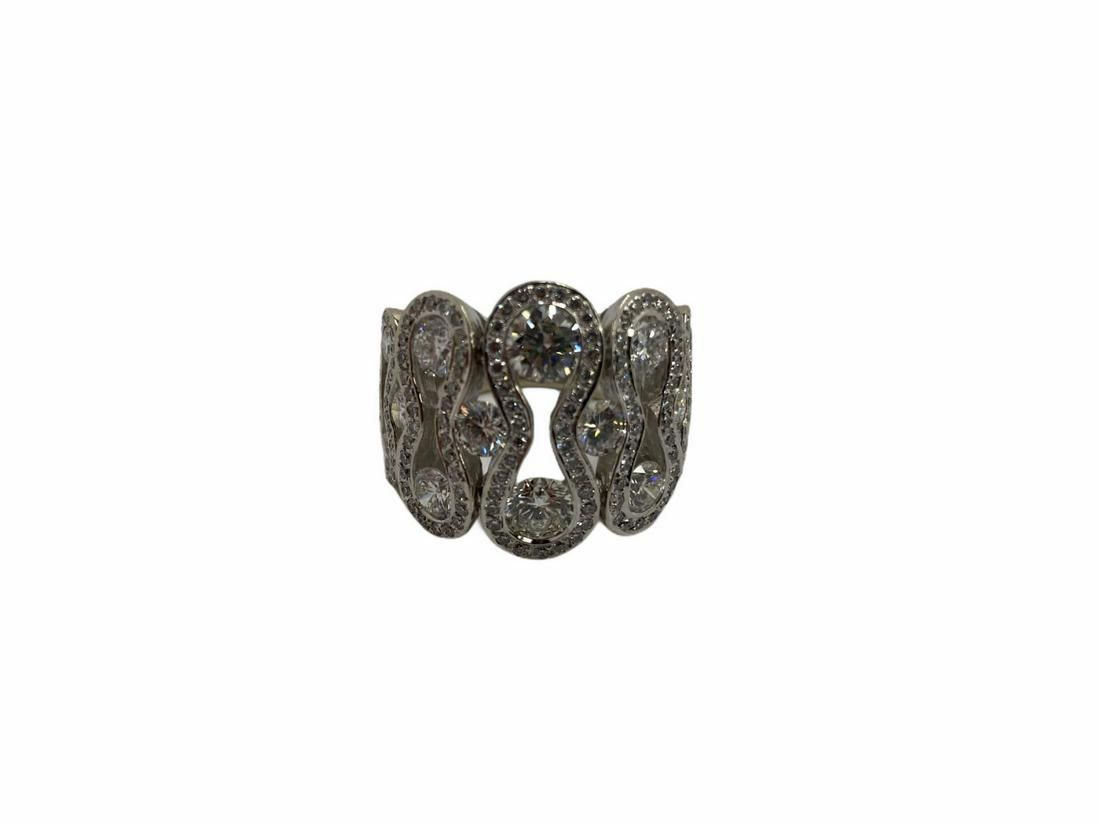 18kt WG and 4.50ct Diamond French Designed Wave Ring