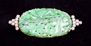 14kt YG, Chinese Jade and 2.25ct Diamond Brooch