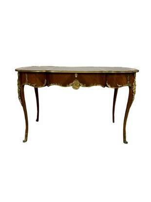 Louis Xv Style Bronze Mounted Leather Top Serpentine