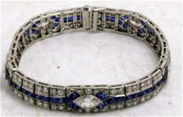 Platinum, 6.00ct Sapphire and 9.50ct Diamond Bracelet