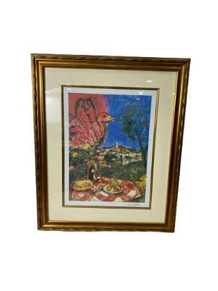 Signed Marc Chagall Lovers Over City Lithograph in