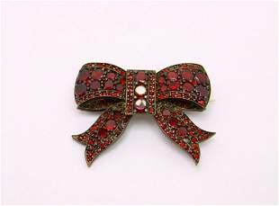 Victorian Vermeil Bohemian Garnet Bow Pin