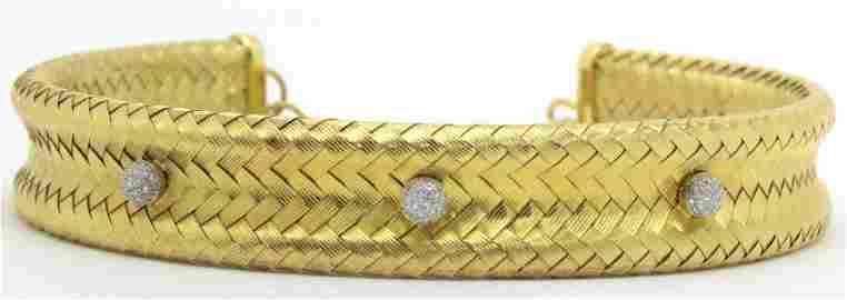 Henry Dunay 18kt YG and 0.60ct Diamond Weave Choker