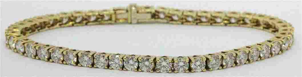 18kt YG and 10.00ct Diamond Tennis Bracelet
