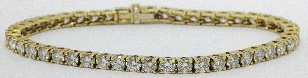 18kt YG and 10.00ct Diamond Tennis Bracelet