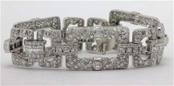 Art Deco Platinum and 12.40ct Diamond Bracelet