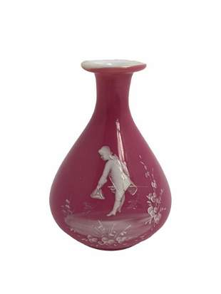 Mary Gregory Pink and White Enamel Glass Vase