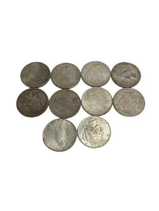 Ten Pcs 1922-1926 Peace Silver Dollar Coins VF and