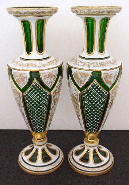 437: PAIR OF BOHEMIAN GLASS VASES