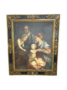 Antique Italian Old Master Oil Painting on Canvas Holy