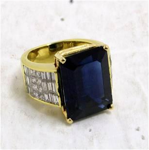 14kt YG, 3.00ct Diamond and 17.25ct Sapphire Ring