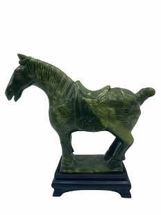 Chinese Carved Jade Spinach Horse Sculpture