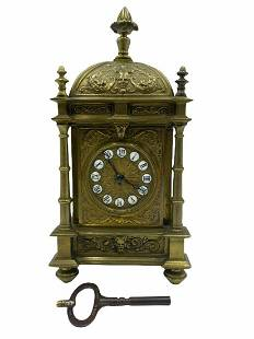 Rare Antique Brass French Repeating Clock