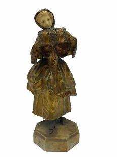 Painted Bronze Statue by Charlotte Monginot